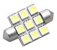 6076 automobilinė lempa LED C5W 9SMD 0.9W