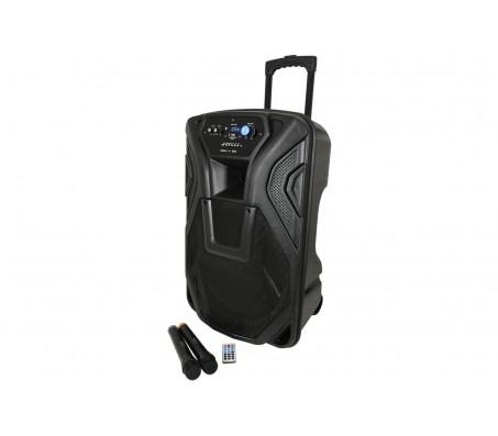 BUSKER-15 nešiojama garso sistema su akumuliatoriumi, VHF mikr. + USB/SD/FM/BT