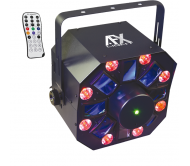 COMBO-WASHFX šviesos efektas 8x RGBWA-UV LED + 8x RGBWA WASH + RG lazeris