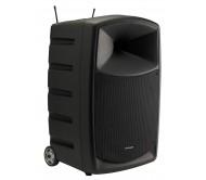 CR12A-COMBO-F5 nešiojama garso sistema su akumuliatoriumi ir dvejais belaidžiais rankiniais UHF mikrofonais, USB/SD/Bluetooth, 120Wrms 10''