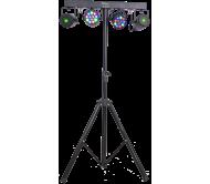 DJLIGHT65 šviesos efektų komplektas su stovu: 2x RGBW PAR + 2x RŽ lazeriai