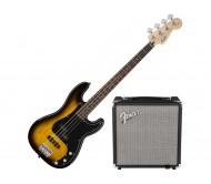 SQUIER PK PJ BASS R15V3 BS bosinės gitaros rinkinys