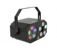 GOBO STARWASH šviesos efektas trys-viename: Gobos + Washer + RG lazeris