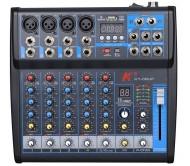 KT-06UP mikšeris 6 kanalų su DSP/USB/MP3/Bluetooth