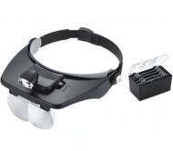 MG81001-E didinamieji akiniai su pašvietimu ir papildomais lęšiais 1.2x/1.8x/2.5x/3.5x