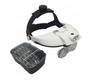 MG81001-H akiniai su padidinimo stiklu ir LED pašvietimu, keičiami lęšiai 1X 1.5X 2X 2.5X 3.5X