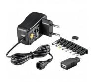 MW3N06USB impulsinis maitinimo adapteris 3-12V 0.6A 7.2VA su keičiamais antgaliukais + USB