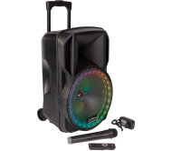 PARTY-12RGB įkraunama garso sistema su RGB LED šviesos efektu ir belaidžiu mikrofonu, USB/BT/TF/FM/AUX, 12′′