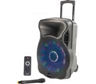 PARTY-15LED garso sistema su akumuliatoriumi ir šv. efektu 800W USB/BT/FM + VHF mikrofonas