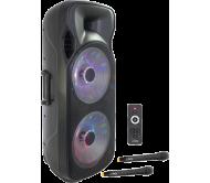 PARTY-215LED-MKII garso sistema su akumuliatoriumi Bluetooth/USB/FM/2xUHF belaidžiai mikrofonai, 1000W, 2x 15