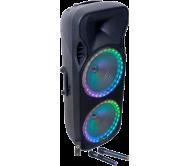 PARTY-215RGB įkraunama garso sistema su 2x UHF mikrofonais ir USB/Bluetooth/FM grotuvu, 900W 2x15''