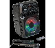 PARTY-6LED-MKII nešiojama įkraunama garso sistema su laidiniu mikrofonu ir USB/Bluetooth grotuvu, 200W 6.5''
