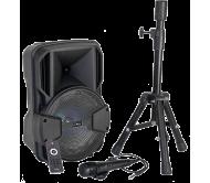 PARTY-MOBILE8-SET įkraunama garso sistema su laidiniu mikrofonu ir stovu, 8''