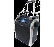 PWA110 garso sistema su akumuliatoriumi ir 2x VHF belaidžiais mikrofonais, Bluetooth/USB/SD/FM/AUX, 50W 8′′/20cm