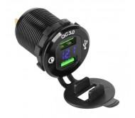 PY-CHR0004 maitinimo lizdas automobiliui 2 x USB QC3.0 3A, DC 12-24 V