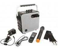 QX05PA-WHT nešiojama Bluetooth garso sistema su rankiniu mikrofonu