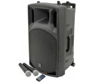 """QX15PA įkraunama garso sistema, 2X VHF belaidžiai mikrofonai, USB/SD/FM/Bluetooth 15"""""""