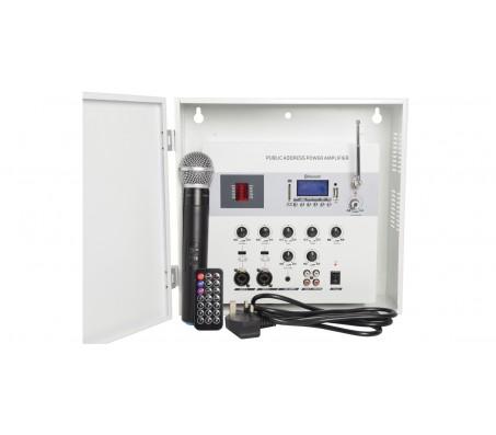 SA180 sieninis užrakinamas stiprintuvas su mikšeriu 100V, Bluetooth/USB/SD grotuvu ir belaidžiu UHF mikrofonu