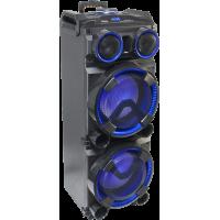STANDUP-DJ-MKII garso kolonėlė su akumuliatoriumi ir šviesos efektu + belaidžiu mikrofonu, USB/SD/Bluetooth/AUX/FM, 300W 2x 12′′