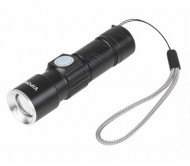 URZ0914 žibintuvėlis LED 3W su ZOOM funkcija, įkraunamas per USB