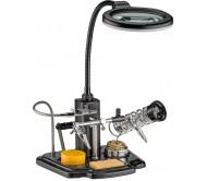 ZD-10Y plokštės laikiklis litavimui su žnyplėmis, lupa bei LED šviestuvu