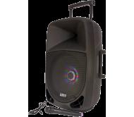 PARTY-15LED įkraunama garso sistema su akumuliatoriumi ir šv. efektu USB/BT/FM + VHF mikrofonas, 15''/38cm 800W