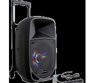 PARTY-8LED nešiojama garso sistema su akumuliatoriumi ir šv. efektu, Bluetooth/USB/FM, 8''/20cm, 300W