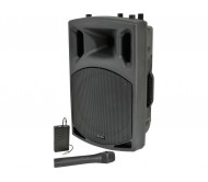 QX12AV garso kolonėlė su stiprintuvu ir belaidžiais VHF mikrofonais + AUX adapteriu belaidžiam muzikos perdavimui