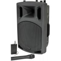 QX12AV garso kolonėlė su stiprintuvu ir belaidžiais VHF mikrofonais + AUX adapteriu belaidžiam perdavimui