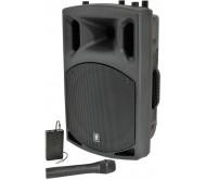 QX15AV garso kolonėlė su stiprintuvu ir belaidžiais VHF mikrofonais + AUX adapteriu belaidžiam muzikos perdavimui